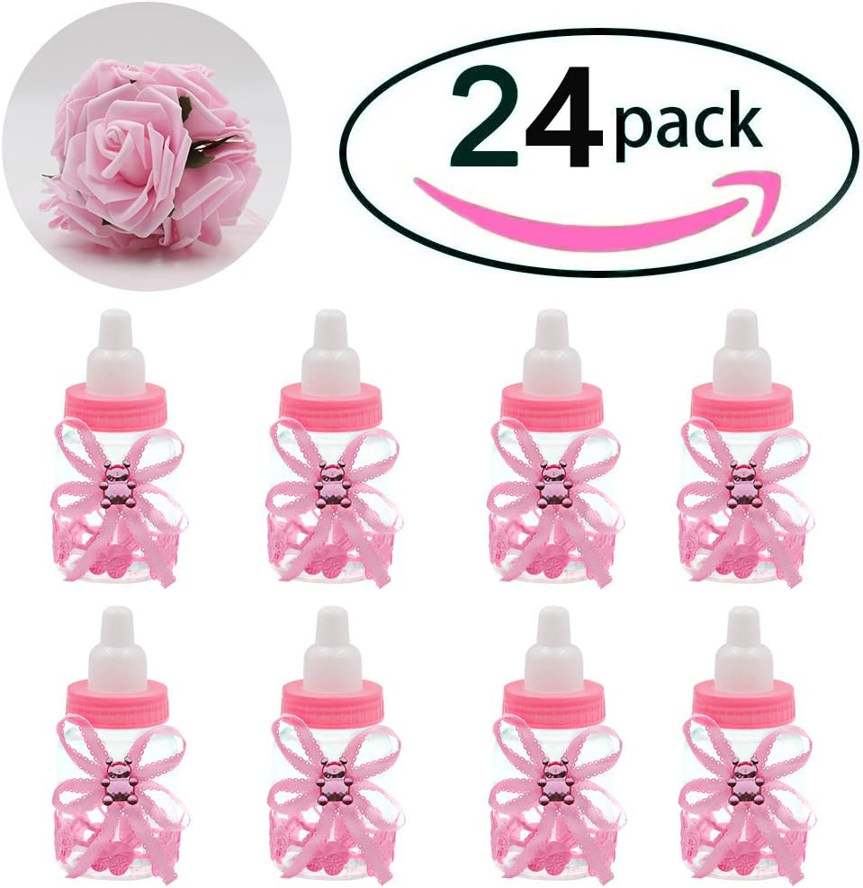 24 BABY SHOWER BOTTLES PINK FILLABLE FAVORS RECUERDOS DE BABY SHOWER NINA ROSA