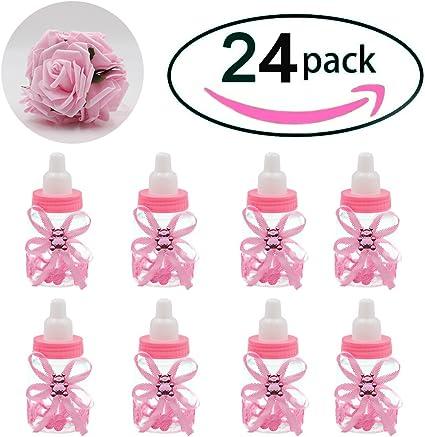 Plastic Mini Baby Milk Bottles Baby Shower Gift Favors 24PCS Pink