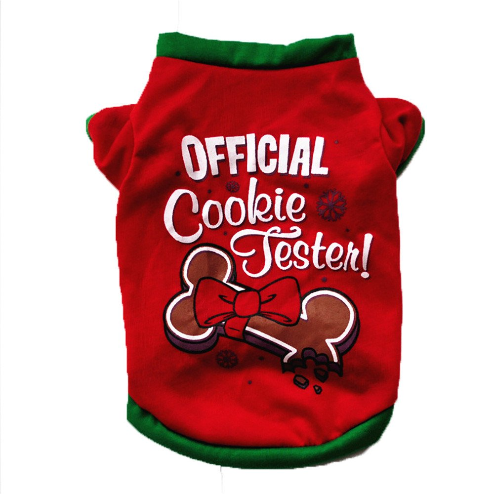 Iuhan Fashion Christmas Dog Clothing Cotton T Shirt Puppy Costume (XS, Red)