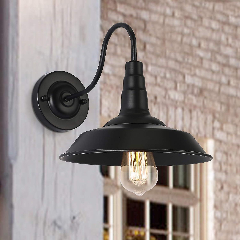 Lámparas de pared de granero para exteriores, retro, apliques de pared, industrial, interior, lámpara de pared, lámpara vintage, en negro, para dormitorio, sala de estar, cocina, jardín (paquete de 2)