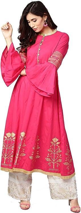 HIRAL DESIGNER Kurta Indian Kurtis Vestidos para Mujer Casual Anarkali Kurti Vestido Largo: Amazon.es: Ropa y accesorios