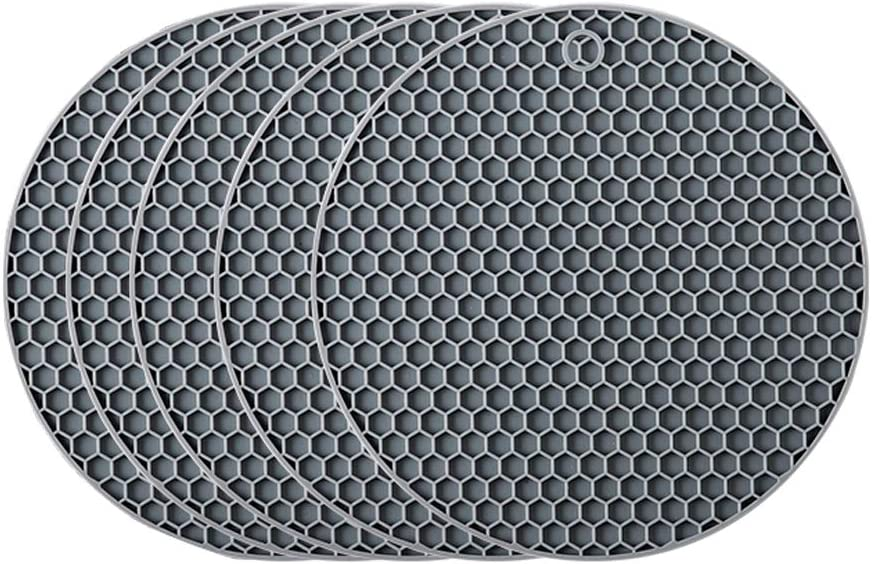 Silicone Trivet Mats - 4 PCS Kitchen Heat Resistant Tool for Hot Dishes and Hot Pots, Hot Pads for Countertops, Tables, Pot Holders, Spoon (Gray)