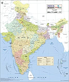 India Political Wall Map 275x32 Inches Maps Of India Amazonin