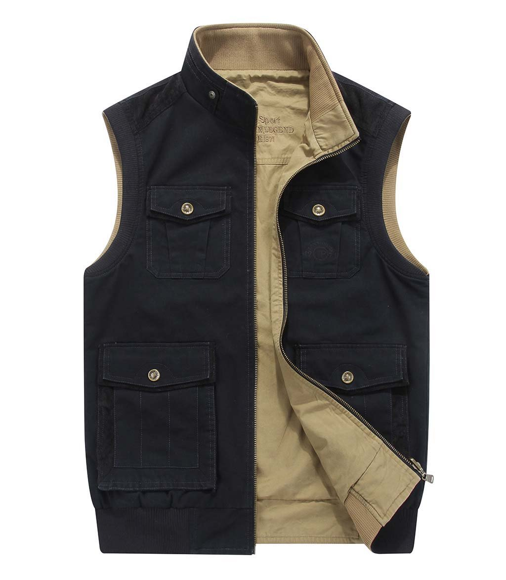 CRYSULLY Men's Leisure Thin Ripstop Vest Field Gilet Trucker Outerwear Fashionable Vest Navy Blue/US L/Tag 3XL by CRYSULLY