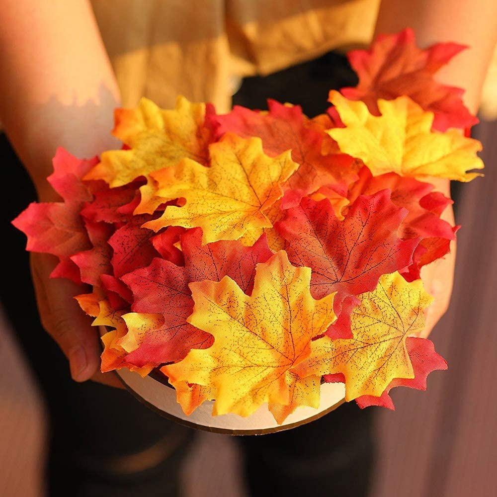 300 PCS Artificial Maple Leaves Assorted Mixed Deep Fall Colored for Weddings Thanksgiving Art Scrapbooking Wall Party Decor Craft Halloween Party Events Outdoor Decoration 3 Color