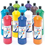 Ready Mixed Paint - 600 ml, 6 Assorted Colours Water-Based Paint for Children's Painting & Crafts (Pack of 12)