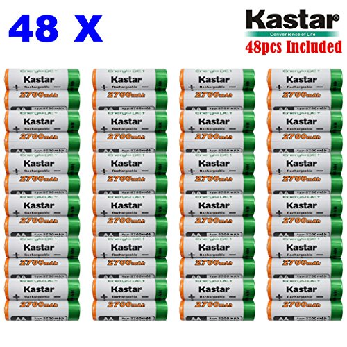 Kastar AA (48-Pack) Ni-MH 2700mAh Super High-Capacity Rechargeable Batteries Pre-charged by Kastar