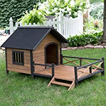 Large Dog House Lodge with Porch Deck Kennels Crates Solid Fir Wood Spacious Deck for Sunny Nap Insulated Keep Rain Out Outdoor 67w X 31d X 38h by Boomer & George