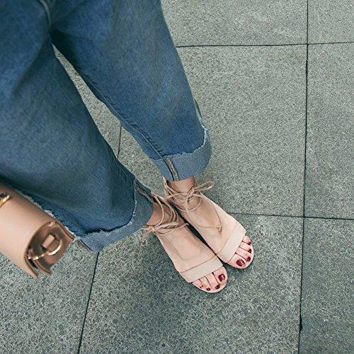 Scarpe Ruiren Women Ankle Block Party Cm Toe Peep Altezza Ladies albicocca Strappy Sandals Strap Da Heel Tacco 5 fqzqrdwB