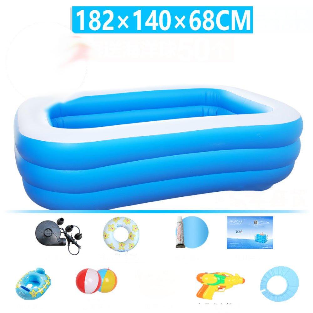 M L&J Rectangular Family Swimming pool Oversized Inflatable Kiddie pool Thick pvc Warm-J