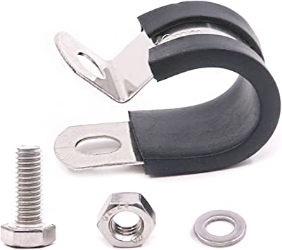3//16 Cable Clamp Stainless Steel Insulated Rubber Cushioned Pipe Clamp Cable Clamp Hose Clip Line Clamp and wire clamp 12 Pack