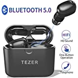 Timemaker True Wireless Bluetooth Earbuds, Mini Bluetooth Earphones Latest Bluetooth 5.0 Headphone Built in Microphone & Dual Speakers with 8 Hours Talking Time for iOS and Android Smart Phones, Black