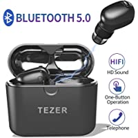 Timemaker True Wireless Bluetooth Earbuds, Latest Bluetooth 5.0 in Ear Earphones Mini Headset Headphones Built in Microphone & Dual Speakers with 8 Hours Talking Time for iPhone and Android Smart Phones, White