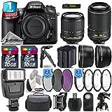Holiday Saving Bundle for D7200 DSLR Camera + 18-105mm VR Lens + 55-200mm VR II Lens + 1yr Extended Warranty + Flash + 2 Of Ultra Fast 16GB Class 10 + 4PC Macro Kit Set - International Version