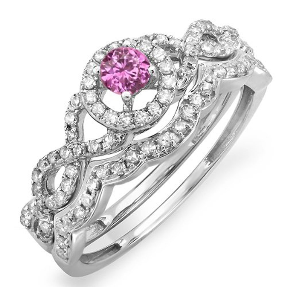 14K White Gold Round Pink Sapphire & White Diamond Halo Style Bridal Engagement Ring Set (Size 9) by DazzlingRock Collection