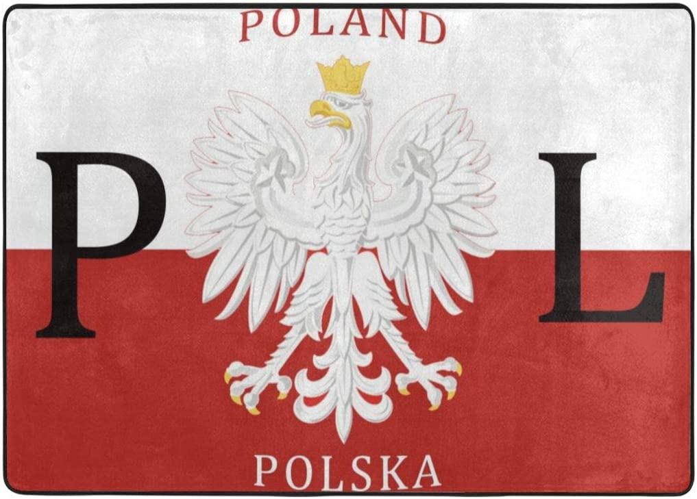 Polish Flag Poland Polska Area Rugs Cozy Anti-Skid Carpet Absorbent Bedroom Rugs Flannel Carpet Non-Slip Rug Durable Bedside Rugs Premium Play Mat