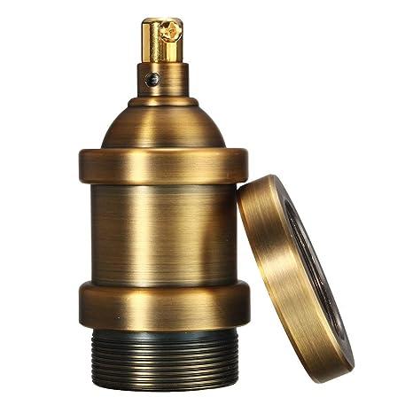 KINGSO - Portalámparas Vintage Edison con casquillo E27 para lámpara colgante, de techo, plana, de cobre, sin cable