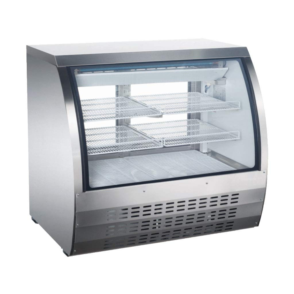 48'' Small Curved Glass Deli Case - Stainless Steel Meat or Seafood Display Showcase
