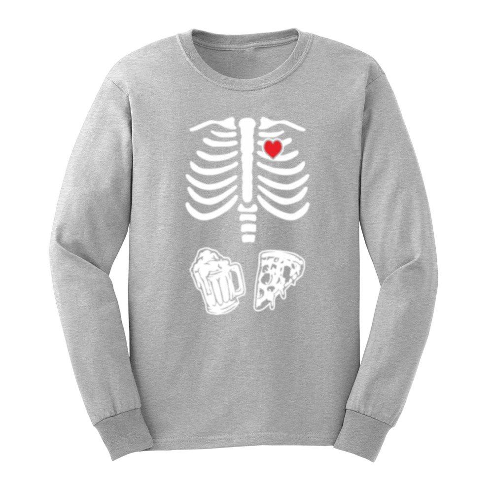 fe764ecdbeda8 Mens Skeleton Maternity Pizza Beer Halloween Long Sleeve Funny T-Shirts Men  Tee | Amazon.com