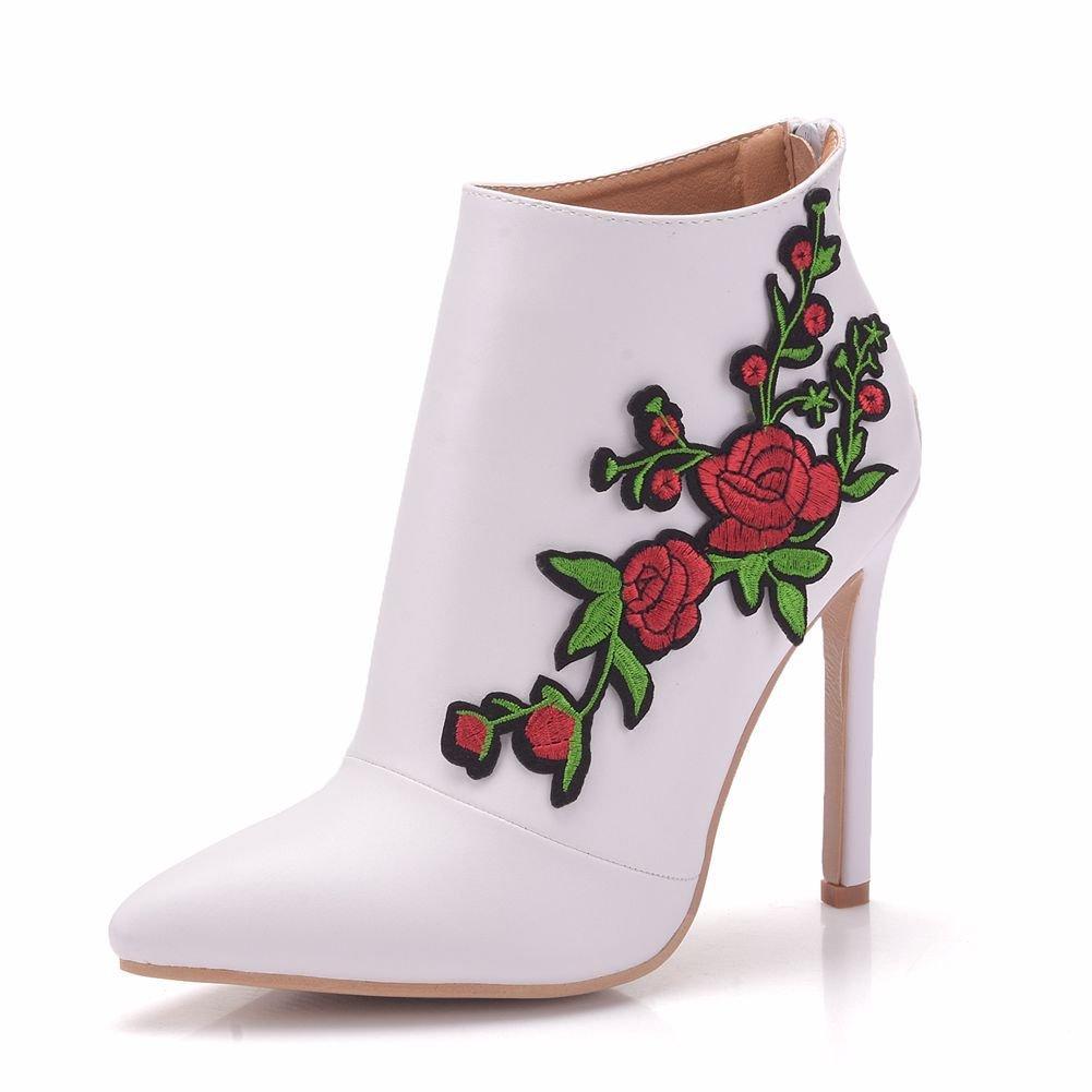 YAN damen es Stiletto Lace PU Applique Spring & Fall Wedding schuhe Stiletto Heel Pointed Toe Stiefelies Ankle Stiefel Satin Flower Weiß Weiß CN41