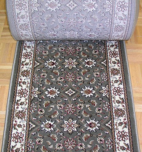 """Rug Depot 140600 Radici Como 1592SG Sage Traditional Hall and Stair Runner - 26"""" Wide Hallway Rug Runner - Custom Sizing - Sage Green Background - Choose Your Length - 26"""" x 10 feet"""