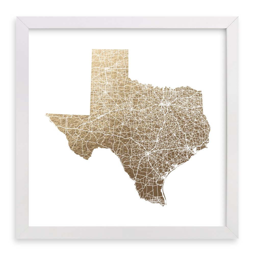 Minted Texas State Framed Foil-Pressed Art Print