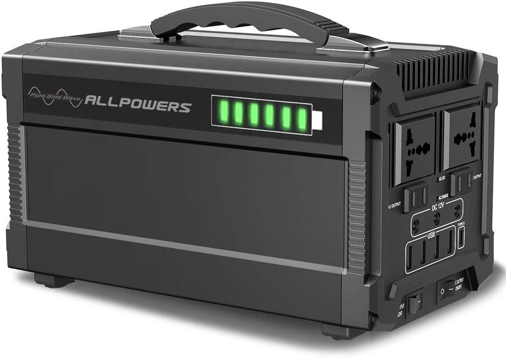 ALLPOWERS 372 Wh, 100500 mAh, generador solar opcional, suministro de energ/ía de emergencia con inversor DC//AC, salida de radio, para camping, uso dom/éstico Fuerza port/átil