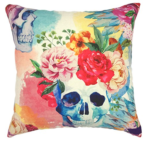 YOUR-SMILE-Cotton-Linen-Decorative-Cushion-Covers-Vintage-Skull-Throw-Pillow-Cases-for-Sofa-1818-Inches