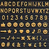 3/4'' Letters for Felt Letter Board, 340 Piece Gold Letters, Numbers and Symbols for Changeable Letter Boards with Free Canvas Bag, Helvetica Font VAG032GD
