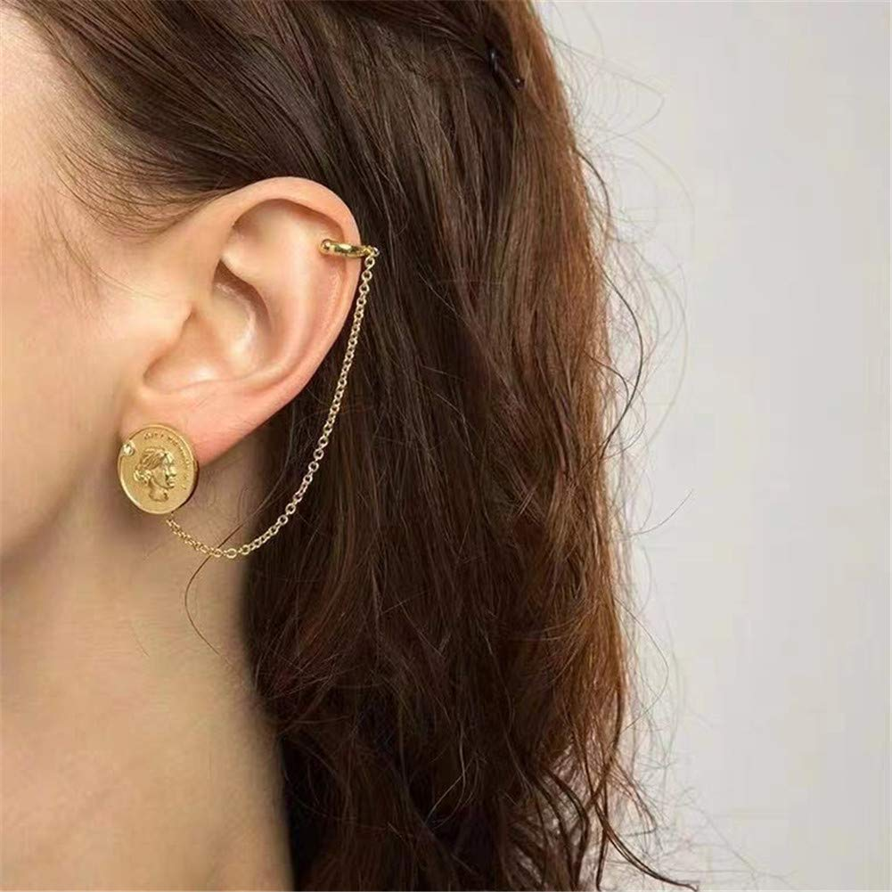 Coin Ear Cuff Earrings Coin Statement Ring Coin Pendant Necklace for Women