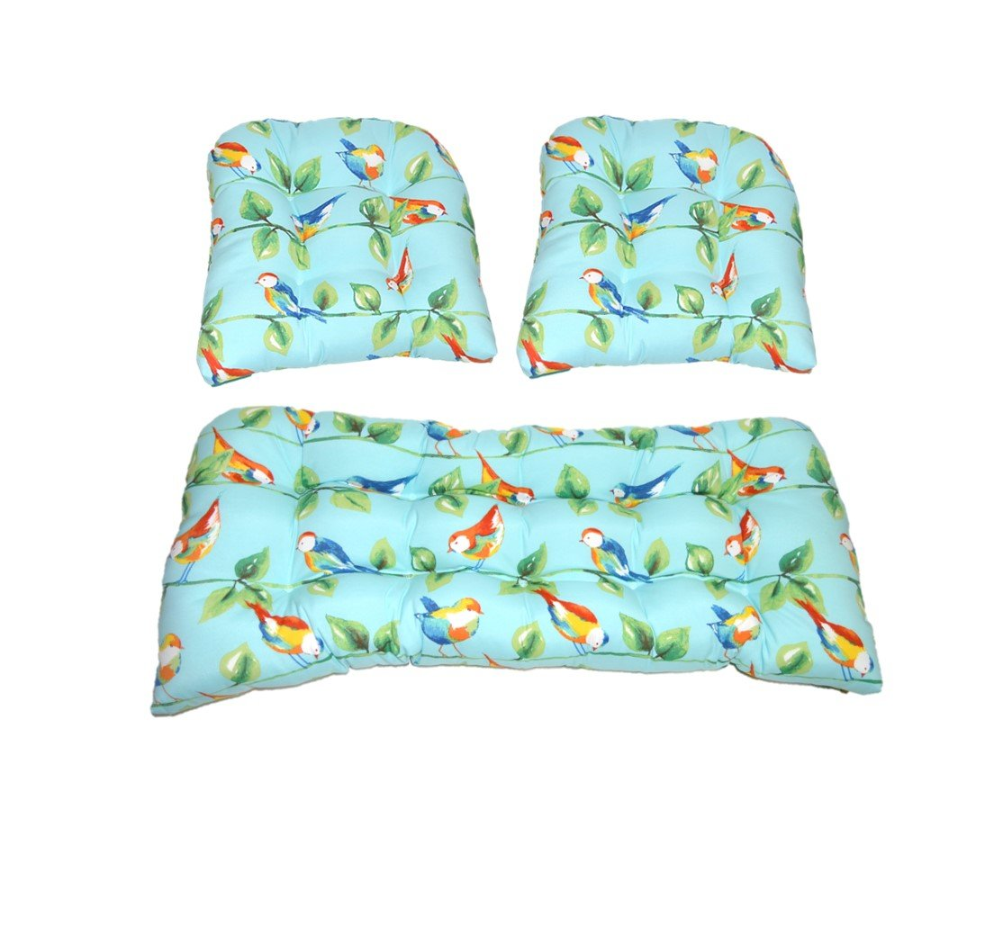 3 Piece Wicker Cushion Set - Richloom Solar Outdoor Sky Blue Curious Birds Indoor / Outdoor Fabric Cushion for Wicker Loveseat Settee & 2 Matching Chair Cushions