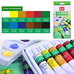 Acrylic Paint Set, 12 Watercolor Paint Set Acryla Gouache Set - No Drying Out, Non Toxic Wood Paint - Acrylic Paint Palette For Beginners, Kids and Adults (12ML Easy Squeeze Tubes)