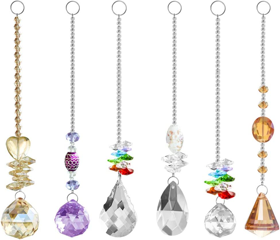 MerryNine Chandelier Suncatchers Prisms Crystal Balls for Home,Office,Garden Decoration - Octagonal,Teardrop & Cone Shaped Prisms - Beautiful Pendants for Car,Plant,Window Decor (Prism-6PCS)
