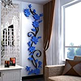 Qiancheng 3D Crystal Rose Removable Wall Art Decal Sticker Decor Mural DIY, multicolor