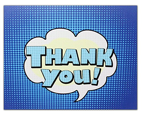 Thank You Cards - Blue - Blank on the Inside - Perfect for Birthdays- Includes Cards and Envelopes - 5.5