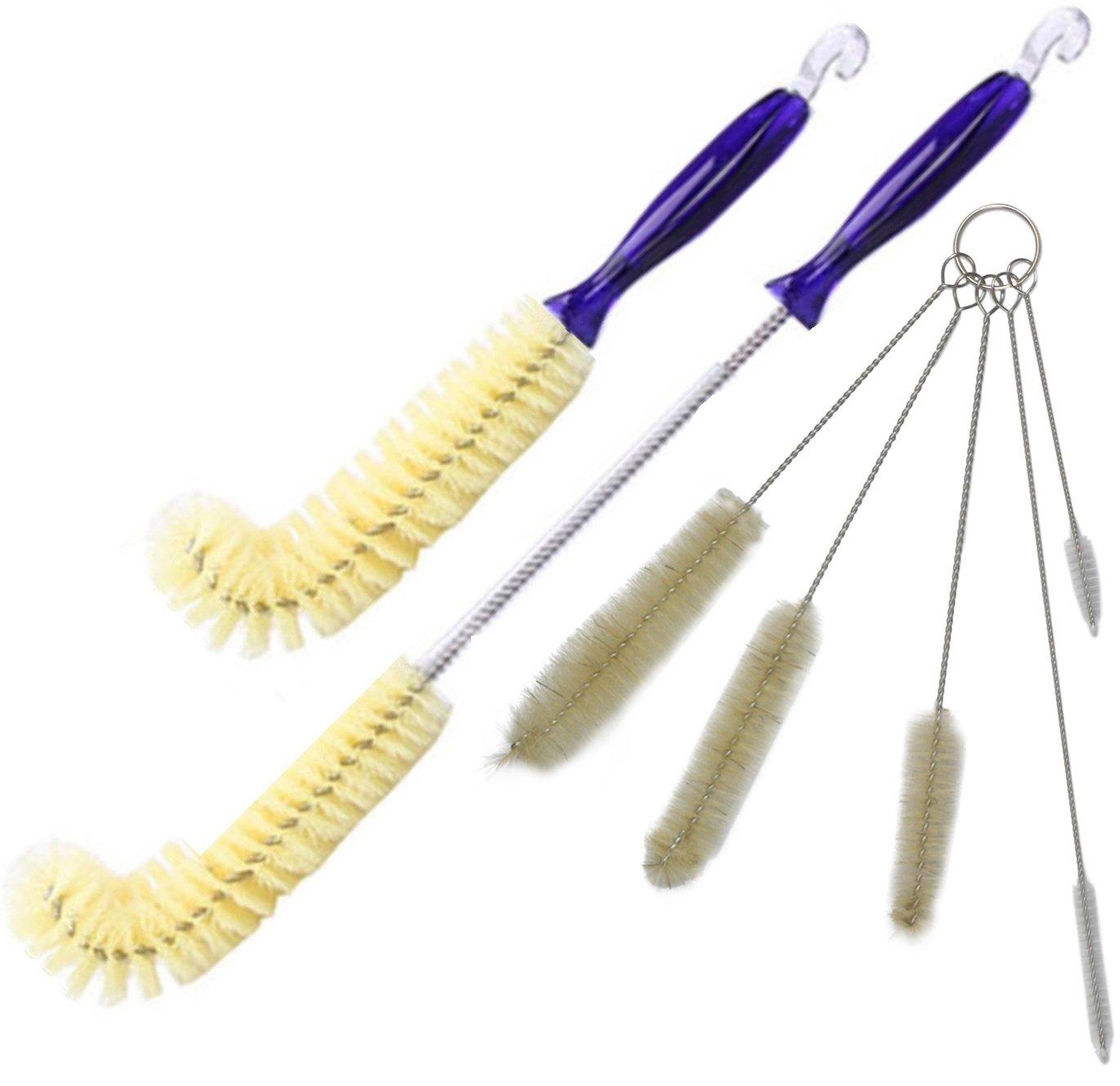 Uzepi 7pc Straw & Bottle Brush Cleaning Set, Angled Design, Comfort Handles, Hooks & Keyring, Tiny-to-Large, Best New Value Bundle