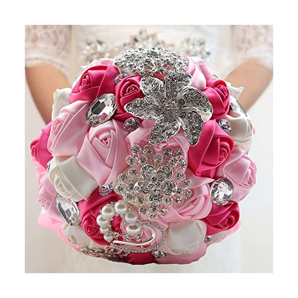 USIX Handcraft Crystal Satin Rose Brooch Bridal Holding Wedding Bouquet Brooch Bouquet, Lace Decorated Bouquet, Wedding Flower Arrangements Bridesmaid Bouquet(Rose Pink)