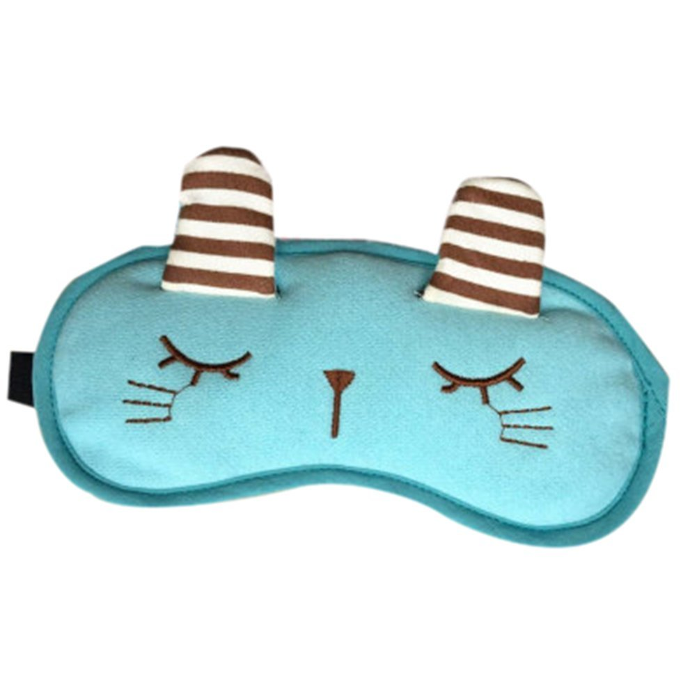 Remeehi Cute Rabbit Hot Cold Therapy Eye Mask, Adjustable and Comfortable,Blackout Technology (Light Blue)