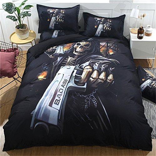 (jxlunn Skull Series 3D Duvet Cover Zip Closure,Pistol Pattern-Lightweight Polyester Bedding Set-3 Pieces Full Size (One Duvet Cover,Two Pillow Shams))