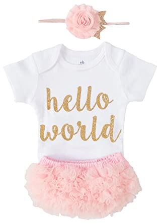 5ecb7cbd35044 ... big sale 05010 170fa OoSweetCharlotteoO Newborn Baby Girl Coming Home  Outfit Hello World Bodysuits 3pcs ...