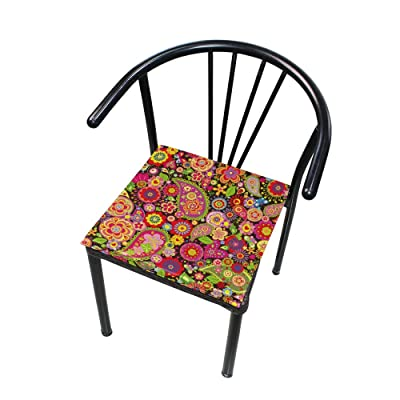 "Bardic HNTGHX Outdoor/Indoor Chair Cushion Floral Paisley Print Square Memory Foam Seat Pads Cushion for Patio Dining, 16"" x 16"": Home & Kitchen"