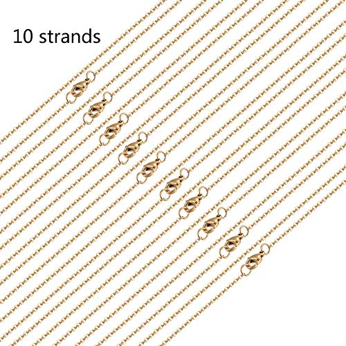 (DanLingJewelry 10 Strands 304 Stainless Steel Cable Chain Necklace DIY Chain Necklaces (Golden Color, 0.07