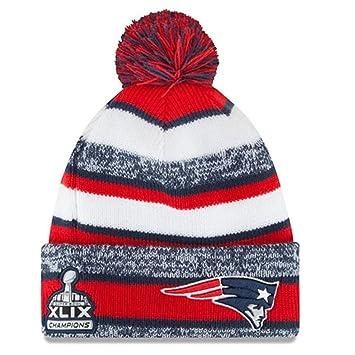 Los New England Patriots Azul Marina   Rojo Super Bowl XLIX Campeones Gorro  de Punto Sports 9391cb2b74d
