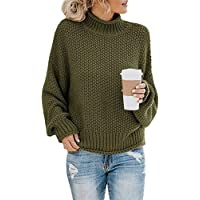 yokamira Womens Turtleneck Chunky Batwing Sleeve Sweaters Solid Color Oversized Knitted Pullover Jumper