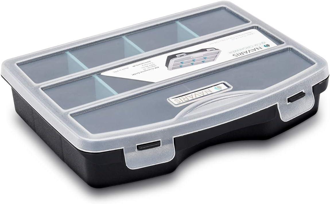 Navaris organizador de tornillos - Caja de almacenaje de plástico para bricolaje - Compartimentos de diferentes tamaños para almacenaje de tuercas