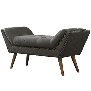 Upholstered Entryway Bench with Arms, Tufted Fabric Bedroom Bench with Rubber Wood Legs, Charcoal