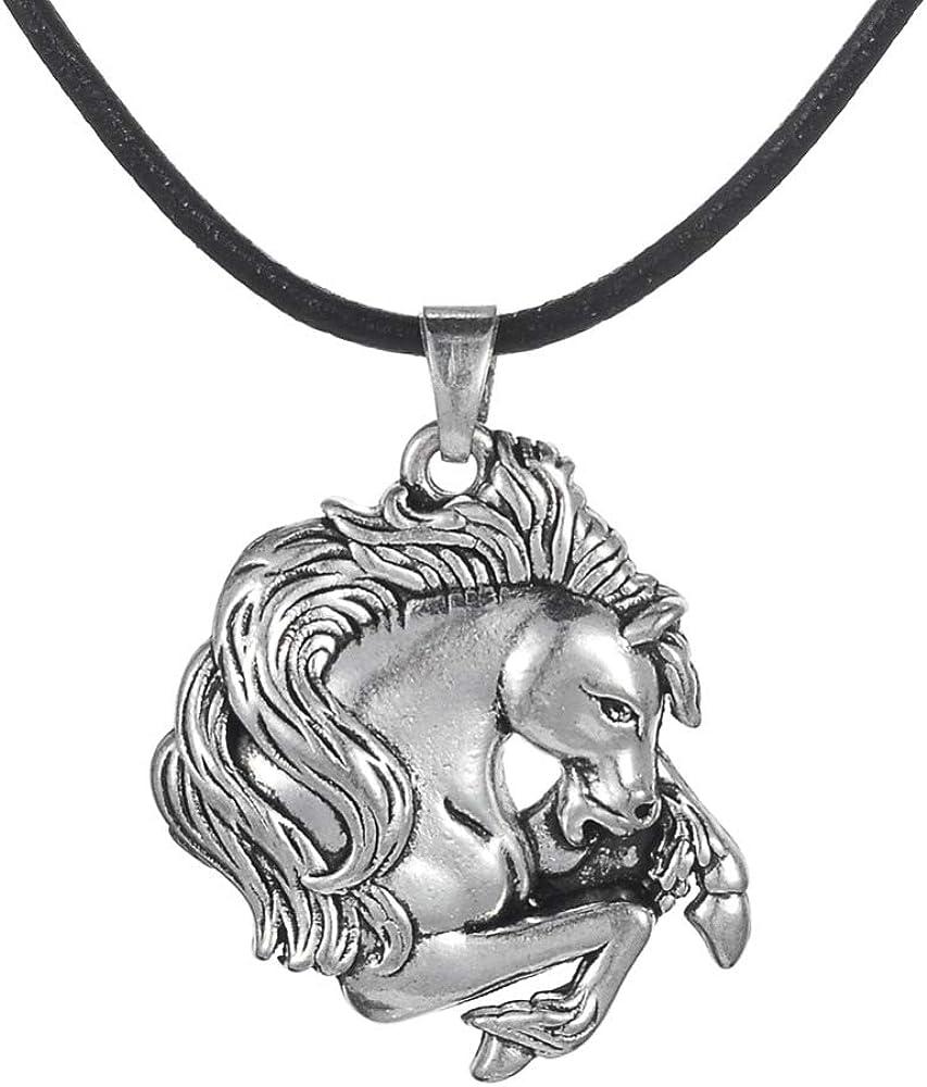 CLEARNICE Collar de Hombre Vintage Plata Plateada Caballo Colgante Encanto Caballo Amante del Río Conejo Cuero para Los Hombres Y El Niño