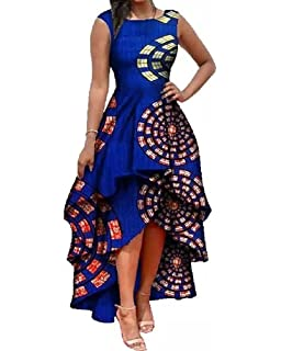 a6b43061043 Womens African Dress Formal Prom Dashiki Print Sleeveless Peplum Fit and  Flare Midi High Low Dress