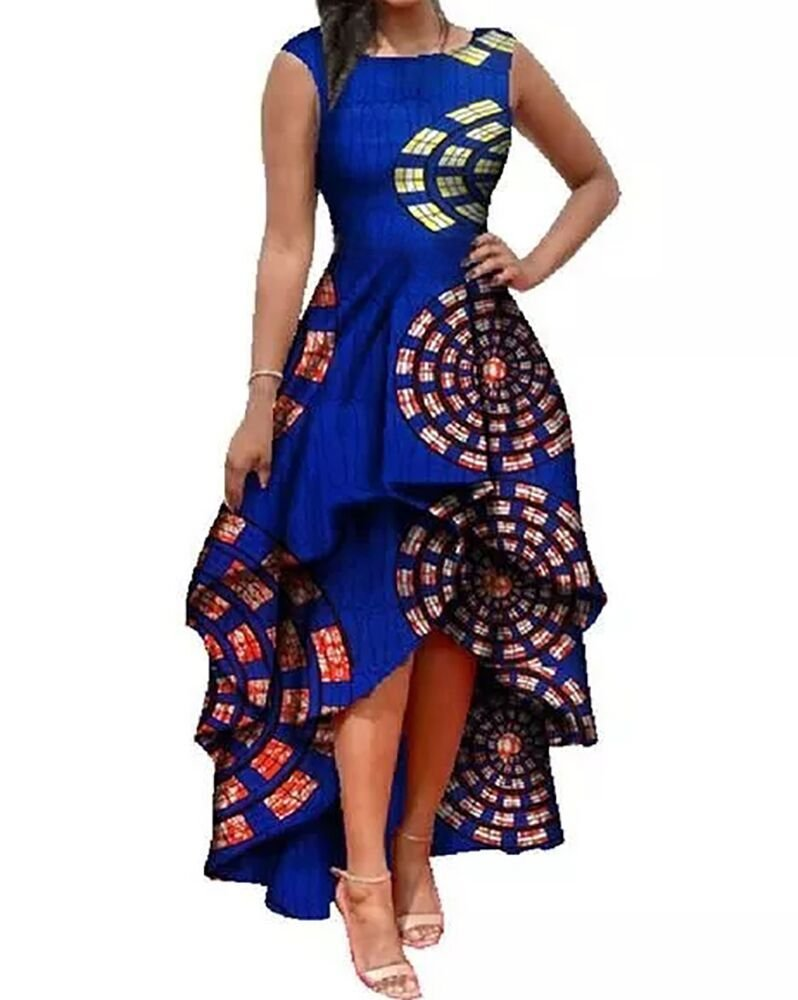 Runcati Womens African Dress Formal Prom Dashiki Print Sleeveless Peplum Fit and Flare Midi High Low Dress (Medium, Blue)