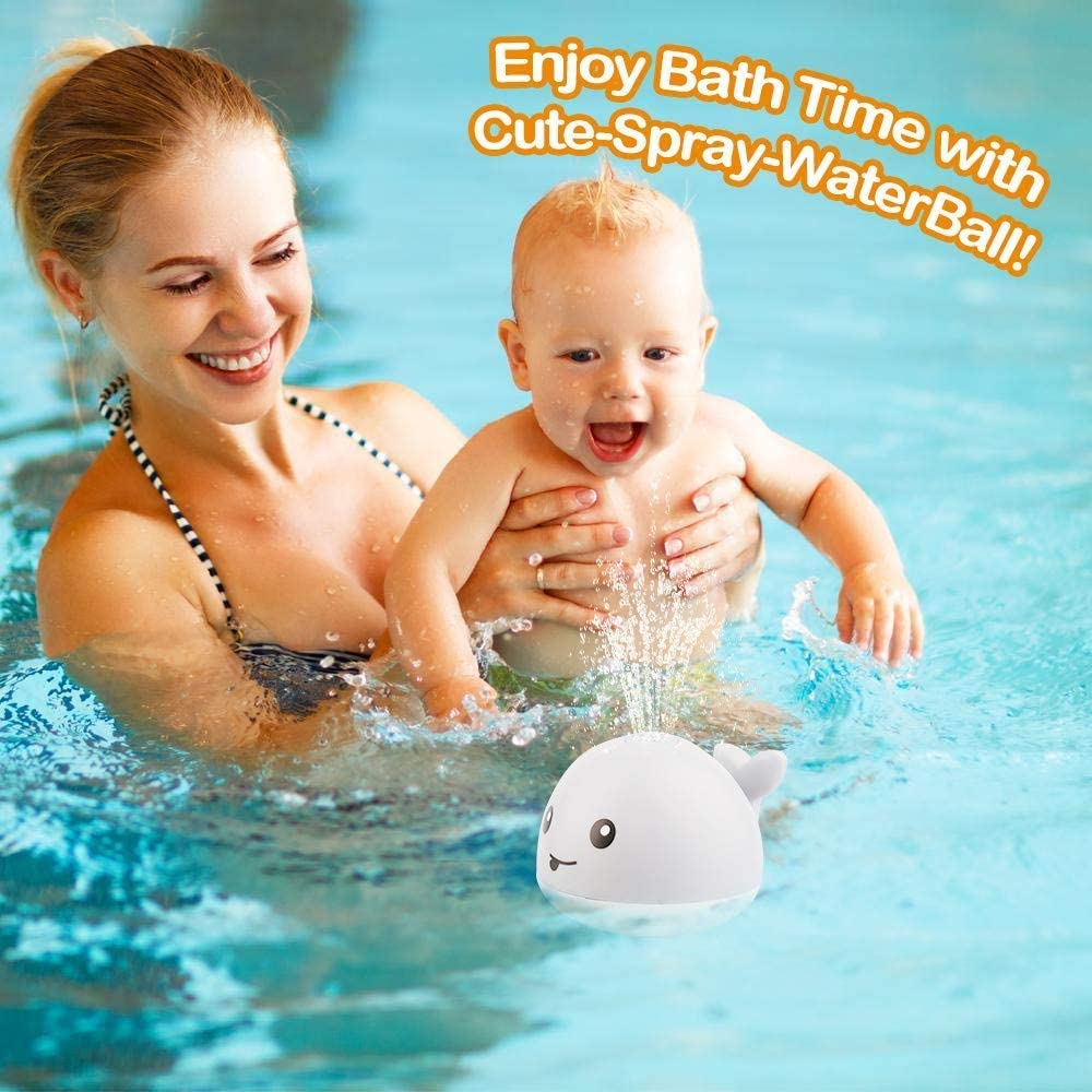Automatic Induction Sprinkler Bath Toy Bathtub Toys for Toddlers with LED Light Musical Fountain Toy EUBUY Baby Bath Toys 2 in 1 Bathroom Induction Spray Water Toy /& Space UFO Car Toys